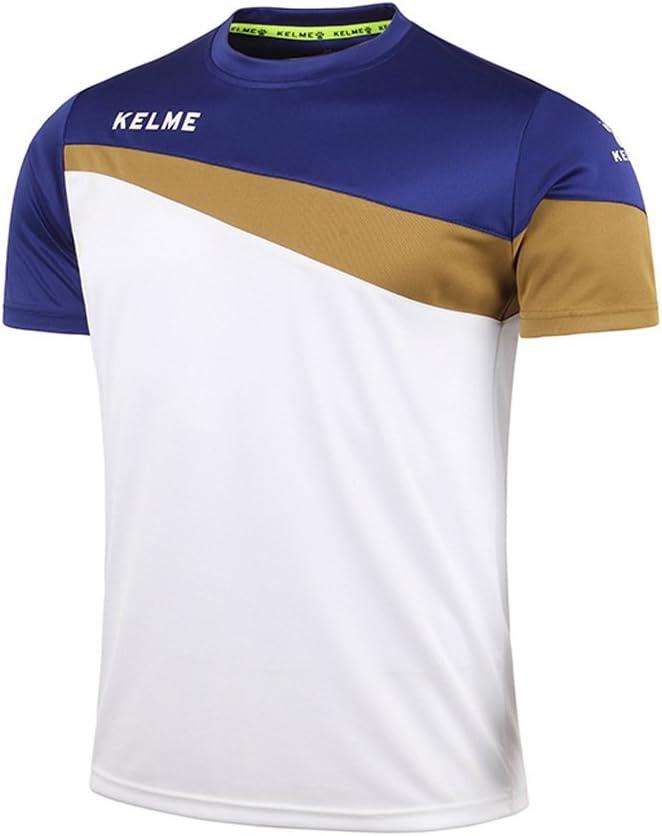 Kelme Camiseta de fútbol de Manga Corta Equipo Traning Placa Uniforme, Hombre, White/Gold/Blue, Extra-Large: Amazon.es: Deportes y aire libre
