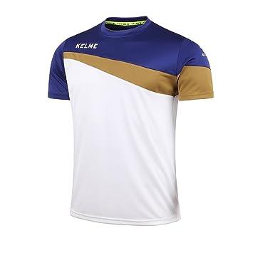 KELME Camiseta de fútbol de Manga Corta Equipo Traning Placa Uniforme, Hombre, White/