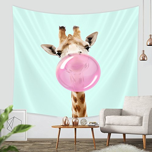 Giraffe Wall Hanging (Funny Giraffe Chutting Gum Tapestry-ZBLX Hanging Tapestry Wall Art For a Home Decorations-Light-weight Polyester Fabric. (59.1