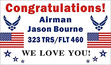 Amazon.com: 3 ftx5ft personalizado Felicitaciones Airman ...