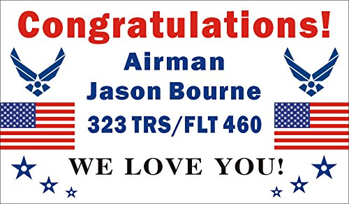 Air Force Banner (3ftX5ft Personalized Congratulations Airman U.S. (US) Air Force Basic Military Training Graduation Banner Sign Poster)