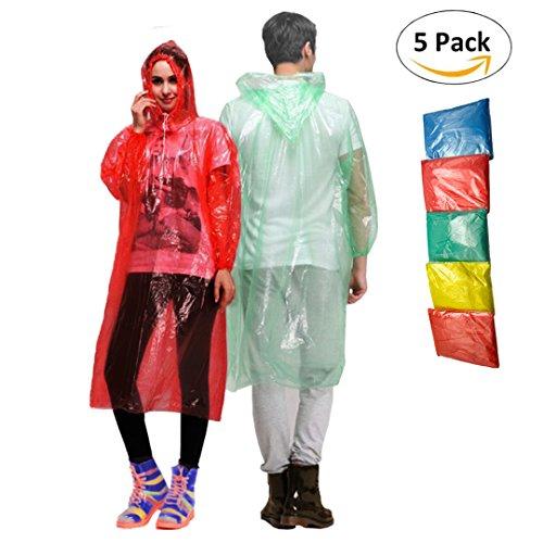 Waterproof Rain Ponchos – Set of 5 Disposable Rain Coats for Adults and Teens - Reusable Rain Ponchos - Cut Sleeve Drawstring Hood - Anti-Tear Material - Full Length Rain Poncho for Men and Women