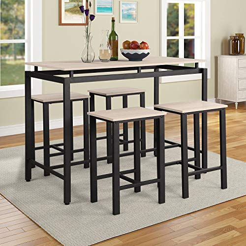 5Pcs Dining Table Set Modern Style Wooden Kitchen Table and 4 Chairs with Metal Legs, Beige (Dining Island Table)