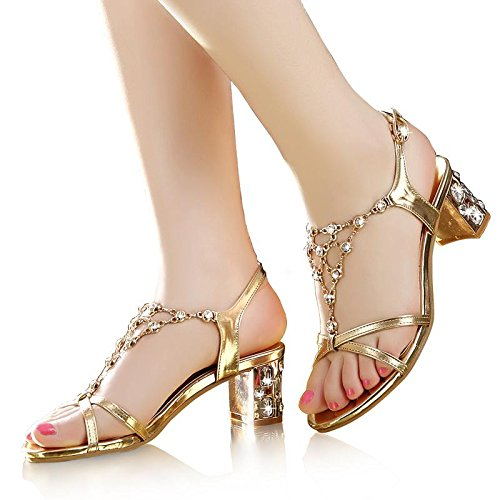 Summer LvYuan Fashion Sandals Chaussures Or Evening amp; Heel Women's Buckle Chunky Party strass Dress U1F1fq5w