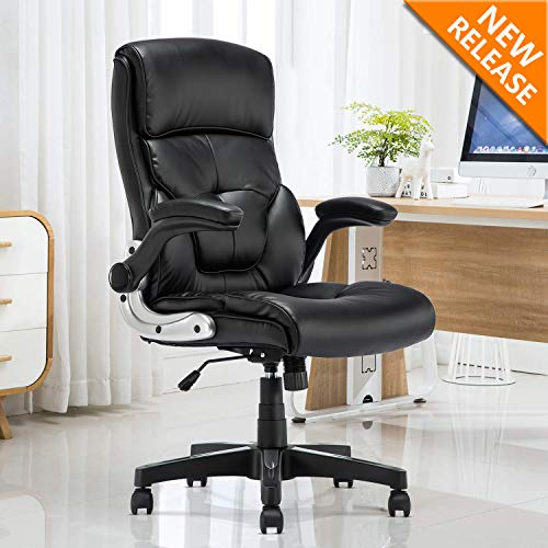 YAMASORO Ergonomic Office Chair Leather Computer Desk Chair High-Back Comfort Gaming Chair with Flip-Up Arms Black