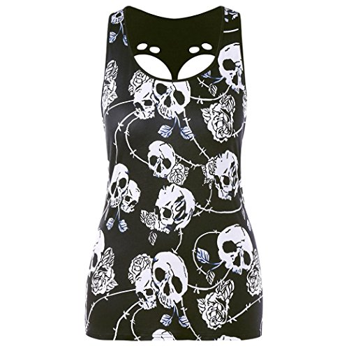 Silk Print Vest (Wintialy Women Plus Size Skull Print Hole Sleeveless Vest Tank Blouse Pullover Tops Shirt)