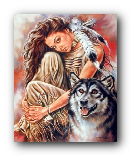 Impact Posters Gallery Wall Decor Indian Maiden and Wolf Native American Art Print Picture (8x10)