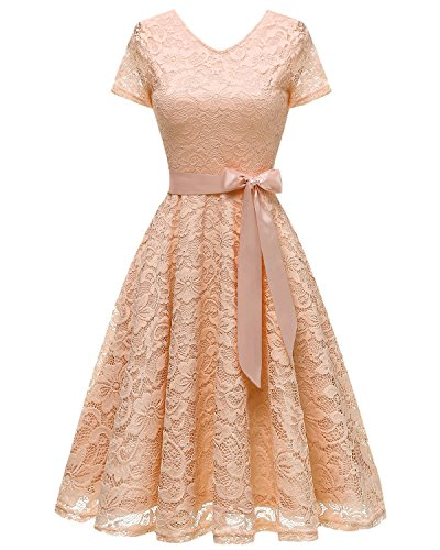 Bridesmay Women V Neck Floral Lace Cocktail Party Bridesmaid Dress with Sleeves Champagne 3XL ()