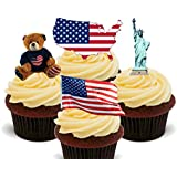 America / USA Fun Pack, Edible Cupcake Toppers - Stand-up Wafer Cake Decorations by Made4You