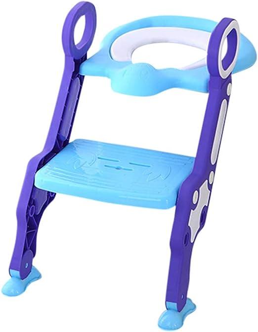 HLDUYIN Asiento de Inodoro de Entrenamiento para los niños-Ajustable del Asiento de Escalera para IR al baño con la Escala y manijas niños Plegable Paso bacinica con Anti-Slip WC Pasos,Azul: Amazon.es: Hogar