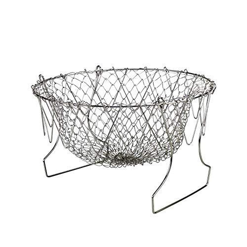 (Deep Fry Basket - Stainless Steel Foldable Strainer Basket Colander - Cooking Basket for Frying, Steaming, Straining, Rinsing)
