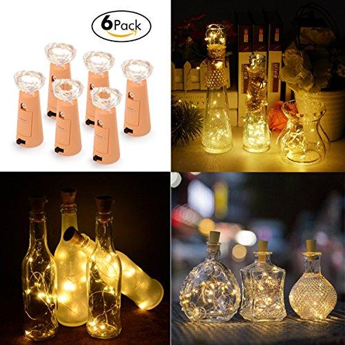 AOSHR Wine Bottle Light 20 LED String Light(78.7in, Warm White)with Cork for DIY, Party, Decor, Christmas, Halloween,Wedding, 6 Pack