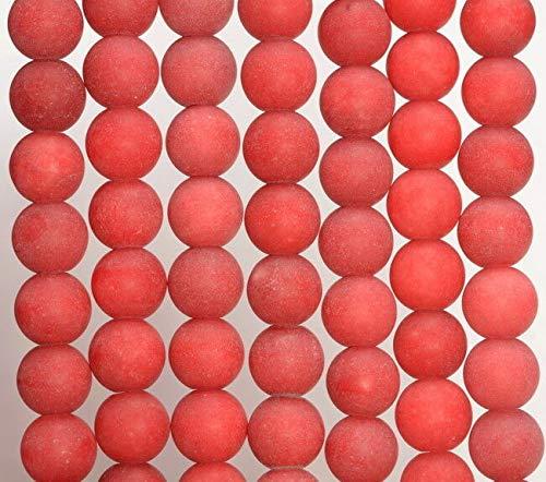 (8MM Coral RED Matte Jade Gemstone Round Loose Beads 15