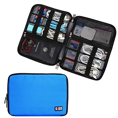BUBM Travel Cable Organizer, Universal Electronics Accessories Storage Bag for Cord, Earphone, USB Flash Drive, Memory Card and More, Lightweight and Compact,Blue