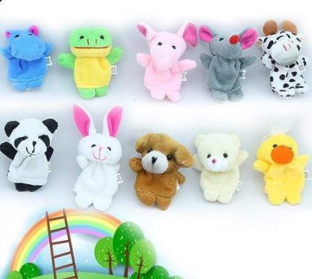 10//12X Familie Finger Puppen Tuch Baby Pädagogische Hand Cartoon Tier Spielzeug