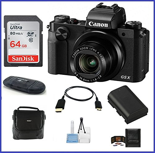 Canon PowerShot G5 X Digital Camera Pro Bundle includes: 64GB SDXC Class 10 Memory Card, Card Reader, Case, Pocket Tripod, Spare battery, Lens Cleaning Kit, Micro HDMI Cable & Memory Card Wallet
