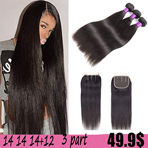 Indian Straight Hair 3 Bundles with Closure 8A Unprocessed Virgin Human Hair Straight with Lace Closure Three Part 100% Human Hair Bundles Extensions with Baby Hair (14 14 14+12, Natural color)