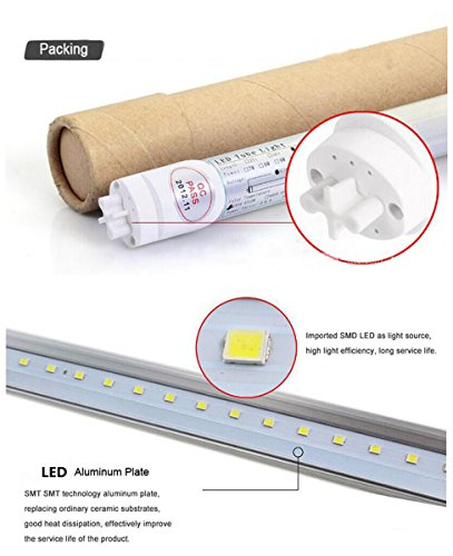Easy-Installing &Eco-Friendly T8 LED Tube Light - 4FT 47'' 120CM 14W (32W Equivalent), Double-End Powered, Milky Cover, Works from 85-265VAC Fluorescent Replacement Lamp (1, 4ft Cool White 6000K-6500K) by Aurora Australis (Image #2)