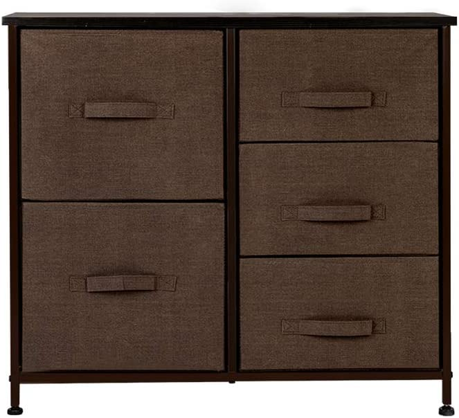 Entryway Hallway Brown Dresser Organizer with 5 Drawers Fabric Dresser Tower for Bedroom Closets