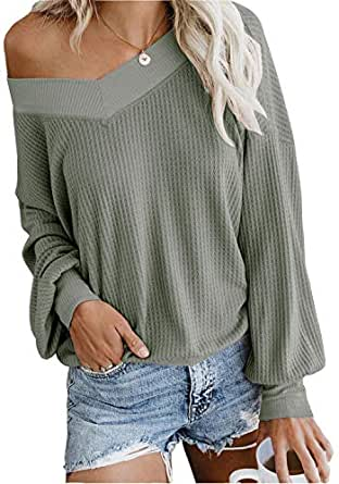 FEIYOUNG Women's Henley Sweater Shirts Slash V Neck Long Sleeve Loose Fit Pullover Tops Knit Tees - Green - Small