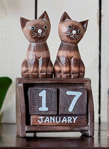 Wooden Two Cats Perpetual Calendar