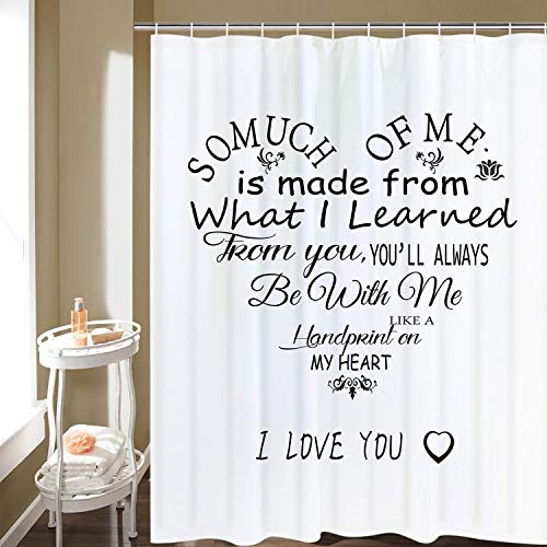 luckyly Happy Mother's Day Shower Curtain, Love Heart Poem Mom Gift Shower Curtains with 12 Hooks, Black and White Shower Curtain for Bathroom