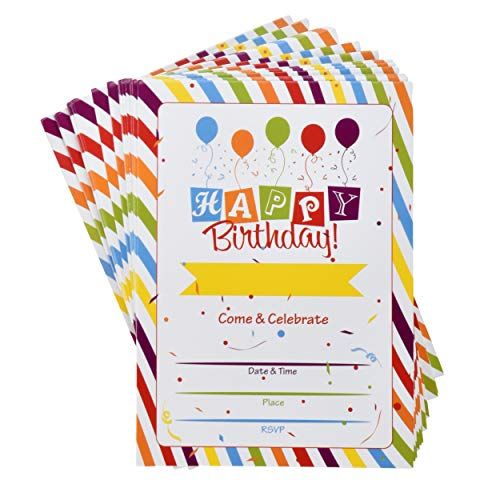 36 Happy Birthday Party Invitations with Envelopes with Multicolor Confetti Rainbow Theme Fill In Card Invites For Teens Kids Girls Boys Parties Favor Supplies Decorations -