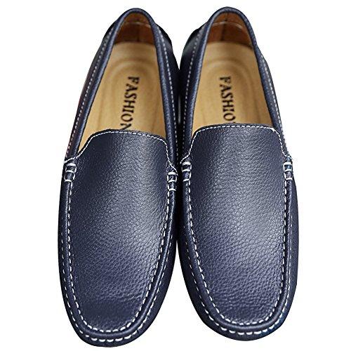 Rismart Hombres Suave Grano lleno Cuero de Segunda Capa Conducción Mocasín Comodidad Centavo Zapatos del Barco Azul Marino