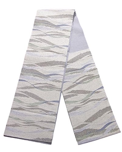 切り下げシェルター彼女はリサイクル 袋帯 和紙織 波模様 正絹 六通