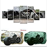 Startonight Large Canvas Wall Art Bundle Yamaha Motorcycle, Big Framed Painting, Free Gift 3D Poster Harley for Real Men