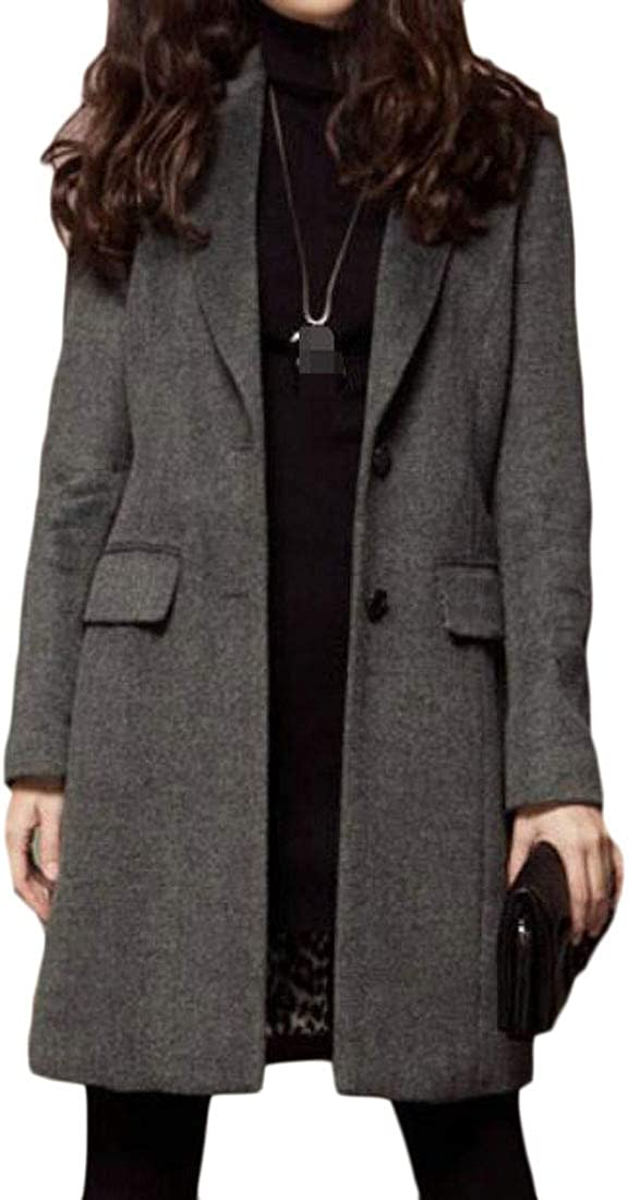 Wopop Women Slim Fit Two Button Wool-Blend Overcoat Notched Lapel Blazer Pea Coat