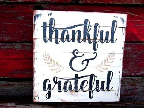 Thankful & Grateful wood sign 11x11x2