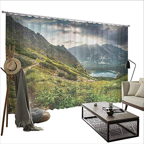 Apartment Decor Collection Interesting Curtains Mountain by The Lake with Fairy Dark Cloudy Sky Spring Dream Spot on Earth Photo W120 xL108 (Colorado Patio Homes Paired Springs)