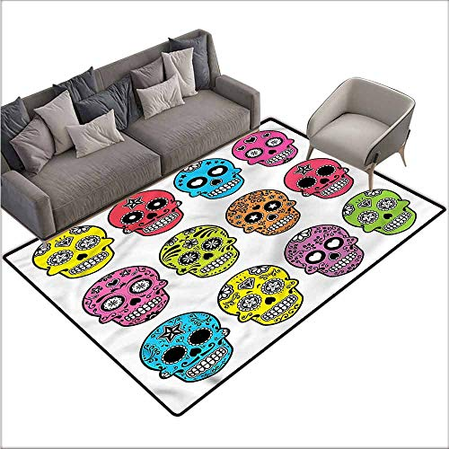 Floor Mats for Living Room Skull,Mexican Halloween Tradition