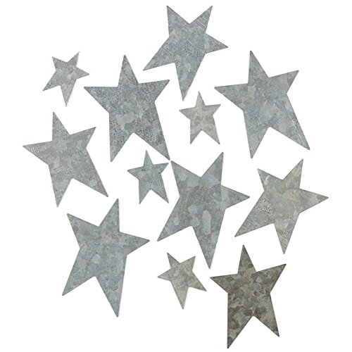Factory Direct Craft Galvanized Tin Assorted Size Star Cutouts with Flat Back 48 Stars