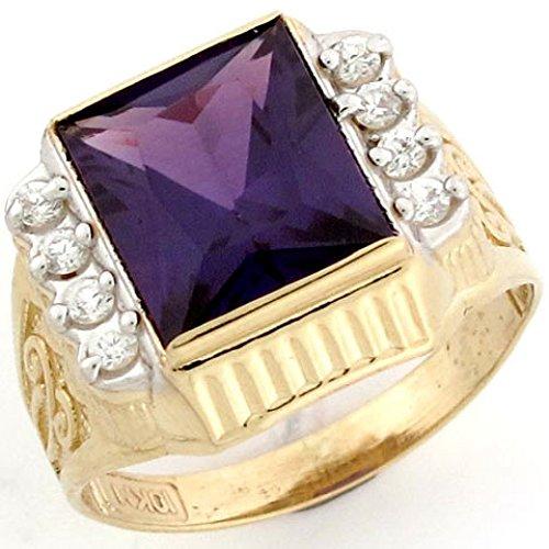 10k Gold Synthetic Amethyst February Birthstone CZ Ring