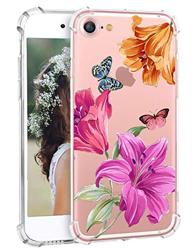 Hepix Floral iPhone 8 Case Lily Flowers iPhone 7 Protective Cases Soft Clear TPU Flexible Floral Print iPhone Cover Case with Reinforced Bumpers for iPhone 7 iPhone 8 [4.7 inch]