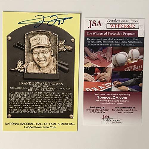 Autographed/Signed Frank Thomas HOF Hall Of Fame Baseball Plaque Postcard JSA COA
