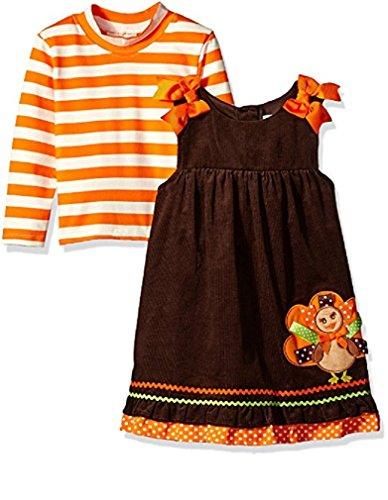 (Rare Editions Bonnie Jean Baby Girl's Turkey Applique Corduroy Jumper Dress, 24M)