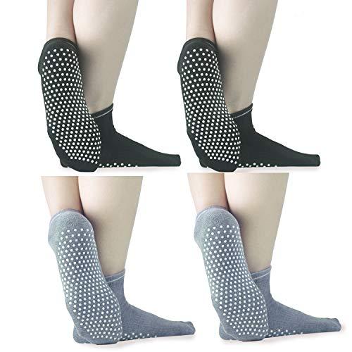 (ELUTONG Sticky Grippers Non Skid Socks 1-4 Pack Floors Slip Socks for/Men/Women (02 Black+Black+Grey+Grey))
