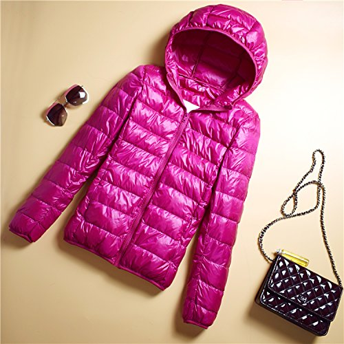 Portable Jacket Short Hood Collar Thin Ladies Section Xuanku Slim rose red Paragraph Collar Down B Jacket PdFqwYw