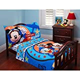 Baby Mickey Mouse Toddler Bed Set Comforter Top Sheet Fitted Sheet Pillow Case 4 Piece Kids Bedding Set