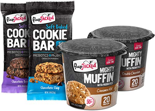 - FlapJacked Favorites Sampler Pack | 1 Double Chocolate Mighty Muffin + 1 Cinnamon Roll Mighty Muffin + 1 Chocolate Brownie Cookie Bar + 1 Chocolate Chip Cookie Bar | High Protein + Probiotics