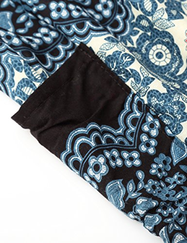 Large Bande Taille Leger Imprime Stretch 2 Baishenggt Bleu Femme Haute Bouffant Pantalon 1OIqwwtB