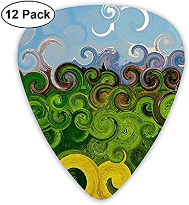 Sherly Yard 12 Pack Púas de guitarra de celuloide Púas con soporte de púas Coloridos rizos de tinta Imprimir para guitarra Bajo Mandolina Ukulele 0.46 mm 0.71 mm 0.96 mm: Amazon.es: Instrumentos musicales
