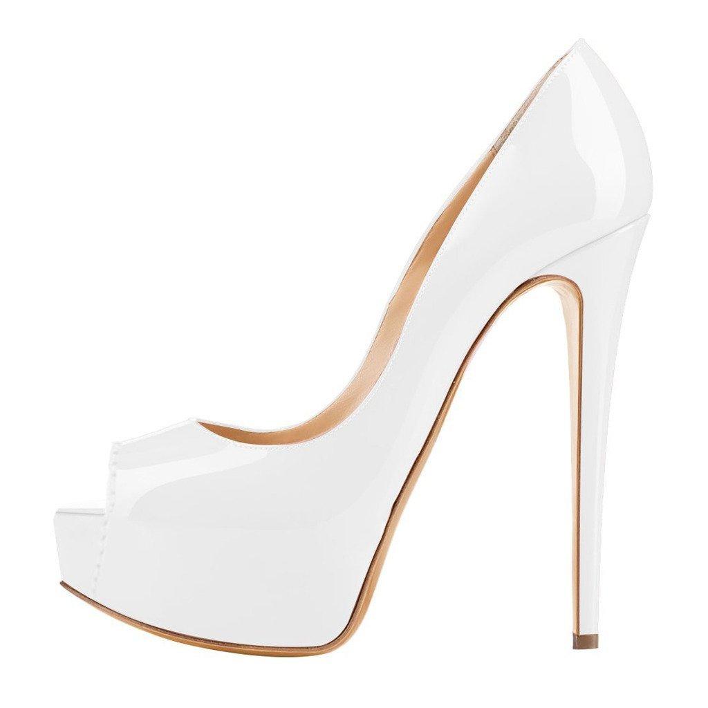 EKS - Zapatos de Tacón Mujer 36 EU|Beige - White-lackleder