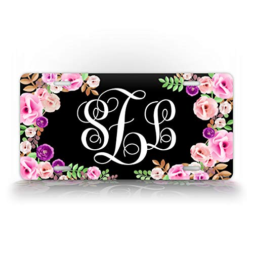 Black Floral Front Monogram License Plate Personalized Women's Monogrammed Auto Tag Sign (License Plates Flower)