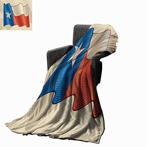 Luckyee Texas Star Super Soft Lightweight Blanket Flapping Texan Flag Lone Star Pattern with Retro Effect Americana 70
