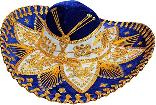 Sombreros In Bulk (Authentic Mariachi Flowers Style Hat Fancy Premium Mexican Sombrero Charro Hats Made in Mexico (Choose Size & Color) (Youth & Women,)
