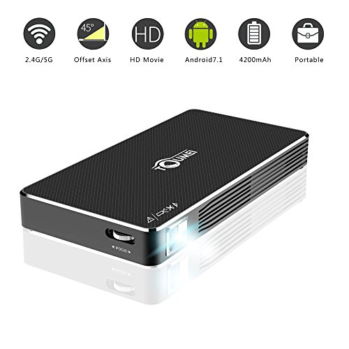 Ivishow Android 7.1 Mini Projector, Smart Portable Pocket DLP Wi-Fi Video Projector with HDMI USB TF Port Bluetooth, Full HD 1080P 4K, Wired/Wireless Screen Share Airplay Miracast for Smartphone